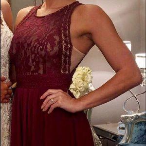 Lulus burgundy maxi lace dress